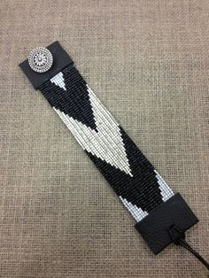 Geometric loom beaded cuff silver black and white