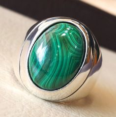 huge malachite natural green stone sterling by AbuMariamJewels Mens Silver Rings, Sterling Silver Rings, Silver Bracelets, Gold Rings, Men's Jewelry Rings, Gold Jewellery, Copper Jewelry, Diamond Jewelry, Thing 1