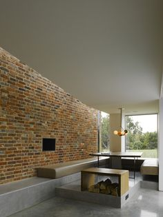 simple seating and fireplace