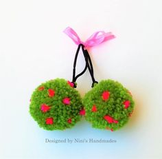 2 Dark Sage Pom Pom with Pink Dots Hair Ties Ponytail Holder