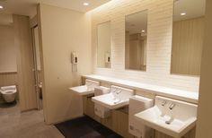 B2~B1F マルシェ Wc Public, Toilet Ideas, Restroom Design, Public Bathrooms, Indirect Lighting, Rest Room, Room Accessories, Washroom, Bedroom Colors