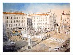 Cuadro en acuarela de la Puerta del Sol de Madrid.