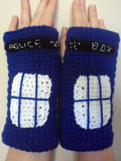 Crocheted Doctor Who Inspired TARDIS Fingerless Gloves / Wrist Warmers - Women's on Etsy, $16.14 AUD