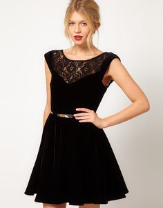 #black #velvet and #lace #dress #clothing #fashion #apparel.  Lengthen the hem & perfect