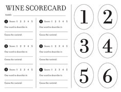 Free Wine Scorecard & Bottle tag printables! Guide to hosting a wine tasting party from Jenna Sue Design blog