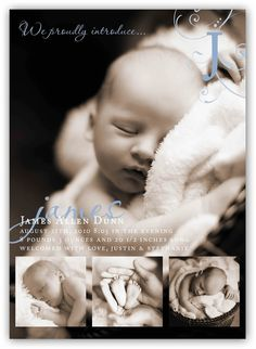 Baby Boy or Girl Customizable four picture fancy Birth (4x6 or 5x7) Announcement Photo Card Design on Etsy, $16.97 AUD