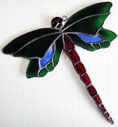 Dragonfly Wings | Tiffany Style Art Deco Glass Dragonfly Suncatcher - Green Blue Wings ...