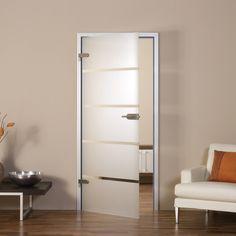 Glazen deur met minimalistisch frame rondom ter afsluiting naar tocht en akoestiek geen - Witte steen leroy merlin ...