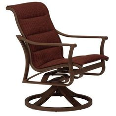 Tropitone Corsica Padded Sling Swivel Rocking Chair Finish: Parchment, Fabric: Sparkling Water