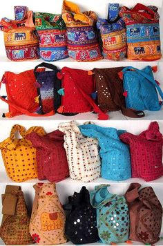Embroidered Indian bags! Saw similar ones in Mexico, should have gotten one :-(