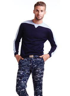 Christopher Bates Merino Wool Crew Neck 2-Tone: $299 Christopher Bates US Navy Digital Print Camo Pants: $240