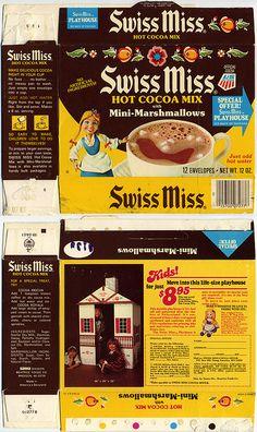 Swiss Miss Hot Cocoa Mix with Mini-Marshmallows box - Swiss Miss Playhouse - 1976-1980
