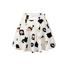 White Emoji Print Elastic Waist Mini Flared Skirt ($20) ❤ liked on Polyvore featuring skirts, mini skirts, mini circle skirt, print skater skirt, white circle skirt, flared mini skirt and patterned skirts