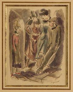 Dans La Rue, watercolour, André Dignimont
