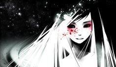 A bloody smile, anime, blood, ghost, girl