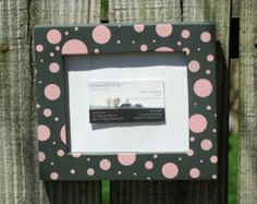5X7 Picture Frame Hand Painted Charcoal Gray Pink Poke A Dots Wooden Ready to Ship