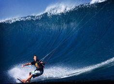 Ben Wilson kitesurfing a super wave.