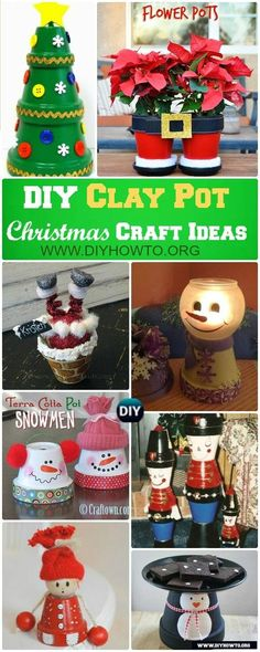 DIY Terra Cotta Clay Pot Christmas Craft Ideas Holiday DecorationDecorate Your Christmas with these Fun Joyful Flower Clay Pot Christmas Craft Projects via DIYHowTo 40 Pretty Paper Flower Crafts, Tutorials & Ideas W. Clay Pot Projects, Christmas Craft Projects, Christmas Clay, Clay Pot Crafts, Homemade Christmas, Holiday Crafts, Holiday Decor, Diy Clay, Holiday Ideas