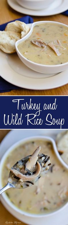 use your leftover turkey to make this flavorful turkey and wild rice soup Leftover Turkey Recipes, Leftovers Recipes, Turkey Leftovers, Thanksgiving Leftovers, Happy Thanksgiving, Leftover Rice, Thanksgiving Crafts, Turkey Wild Rice Soup, Turkey Soup