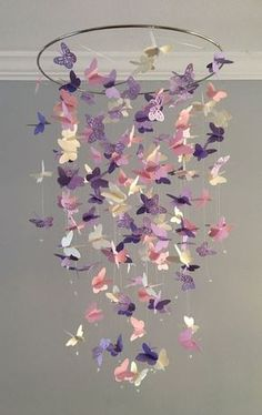 Butterfly Chandelier Mobile, in purple and pink-mostly solid butterflies girl room mobile,nursery mobile,baby girl mobile,baby mobile - Kinderzimmer Dekoration Butterfly Room, Butterfly Mobile, Flower Mobile, Butterfly Shape, Purple Butterfly, Baby Bedroom, Nursery Room, Girl Bedrooms, Kids Bedroom