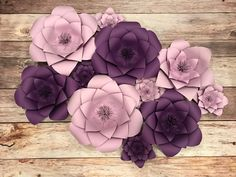 Custom Paper Flowers 11 flower set purple by GraceAndLynnDesigns