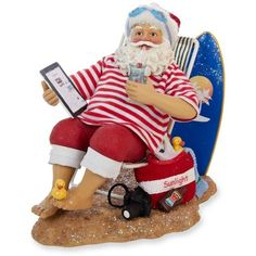 Kurt S. Adler Multi Fabriche Swimming Santa (2 060 UAH) ❤ liked on Polyvore featuring home, home decor, holiday decorations, multi, santa claus figure, santa claus figurine, father christmas figure, kurt adler and santa figure