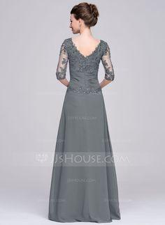 A-Linie/Princess-Linie U-Ausschnitt Bodenlang Chiffon Kleid für die Brautmutter mit Rüschen Perlen verziert Applikationen Spitze Pailletten (008058408)