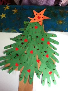 Preschool Crafts for Kids*: Handprint Christmas Tree Craft-Made something similar with the boys last week. Used 10 hands (4,3, 2,1) and glued them on a whole piece of construction paper. Used red pom poms for decorations. Came out cute!