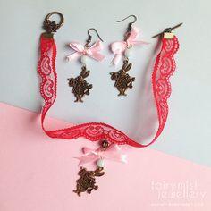 Follow the White Rabbit Jewellery Set Choker by fairymistjewellery  Alice in Wonderland Inspired Rabbit Jewellery Set. Sweet cute pastel handmade jewellery.