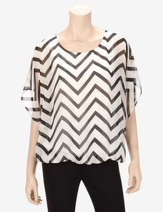 AGB Black & Ivory Chevron Print Bubble Top – Misses - Blouses | Stage Stores