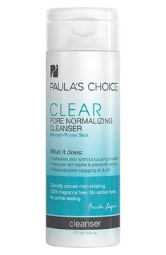 Free shipping and returns on Paula's Choice Clear Pore Normalizing Cleanser at Nordstrom.com. What it is: A cleansing gel with a silky feel that works quickly to remove excess oil and debris that can clog pores.Who it's for: Normal to oily skin types.What it does: It gently removes excess oil, debris, and impurities, leaving skin feeling clean, smooth, and refreshed with visibly improved clarity. This cleanser is completely non-irritating and won't cause dryness or flaking.How to use: Splash…