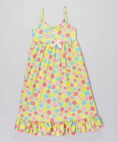 Love this Lime Swirl Bow Nightgown - Toddler & Girls by Consolidated Clothiers on #zulily! #zulilyfinds