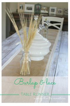 Burlap & Lace Table Runner :: making it in the mountains #tablerunner #burlap&lace #burlaptablerunner