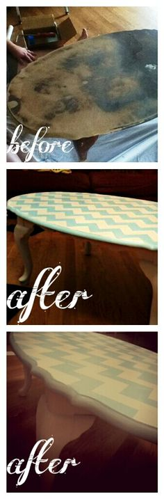 Free coffee table refurbished in chevron stencil