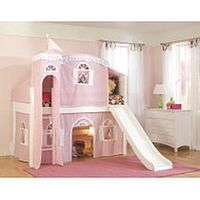 Bolton Furniture Cottage Low Loft Twin Bed with Top Tent, Playhouse Curtain & Slide - Pink/White