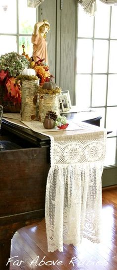 A lace and burlap runner Anita made - it is so beautiful!!  Far Above Rubies