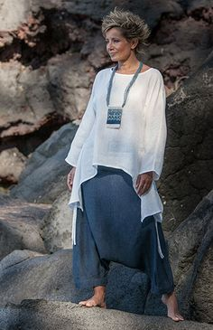 Women apparel: loose fit wjite linen top with a blue linen denim chambray harem  pants (sarouel) amalthee creations