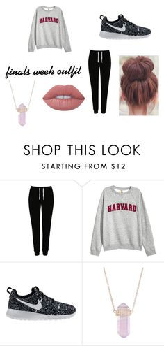 """""""finals week outfit"""" by jasmynrod on Polyvore featuring George, H&M, NIKE, Luna Skye and Lime Crime"""