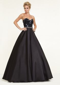 A Line Long Strapless Black Beaded Satin Dress For Prom