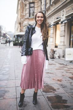An outfit with a pink metallic pleated skirt