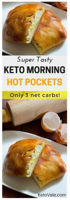 "Keto Morning Hot Pockets Check these super tasty Keto Morning Hot Pockets! This low carb breakfast recipe has only 3 net carbs. Try it today and you will love it! Hot ""Unwich"" Ham and CheeKeto Taco Bake Recipe LowThe best Keto Pancakes Ketogenic Recipes, Low Carb Recipes, Diet Recipes, Cooking Recipes, Recipies, Diet Tips, Fat Head Recipes, Dairy Free Keto Recipes, Radish Recipes"
