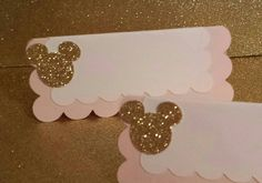 Minnie mouse pink & gold baby shower or birthday party  Food buffet or candy buffet tent cards