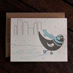 Ice Skating Pigeon Letterpress Holiday Card by Rise and Shine Letterpress