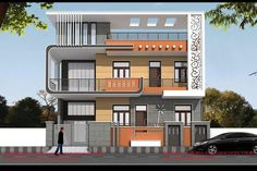 Explore the best new residential interior designs and Building floor plans as per Vasthu Sastra guidelines. House Outer Design, House Front Design, Small House Design, Cool House Designs, Modern House Design, 3 Storey House Design, Bungalow House Design, Building Elevation, House Elevation