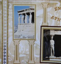 Athens Acropolis Travel scrapbook page with Columns from Cricut's My World