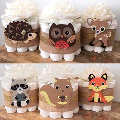 Woodland Mini Diaper Cakes Set of 6 Baby par BuzzyDiaperCakes