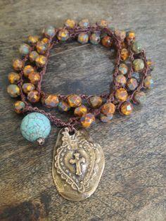 Bronze Cross Crochet Multi Wrap Bracelet, Anklet, Necklace Boho Chic. $30.00, via Etsy.