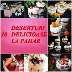 10 deserturi la pahar, elegante aspectuoase si foarte usor de preparat - CAIETUL CU RETETE Sweets Recipes, Parfait, Tiramisu, Food And Drink, Trifles, Cookies, Dining, Cream, Breakfast