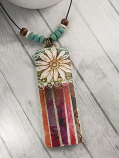 Polymer Clay Pendant Beach Boho Jewelry by WiredOrchidJewelry