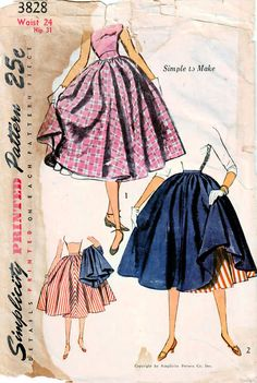 0767a2af4 Sew a wonderfully full skirt and a petticoat too. From the 1950s